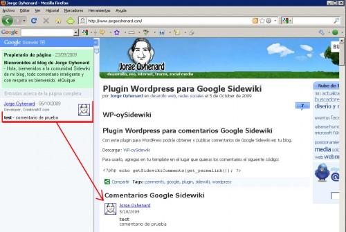 Comentarios Google Sidewiki en WordPress